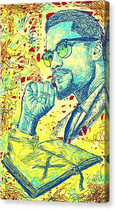 Malcolm X Drawing In Lines Canvas Print by Kenal Louis