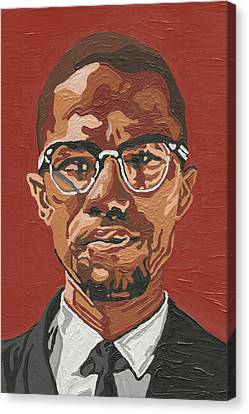 Canvas Print featuring the painting Malcolm X by Rachel Natalie Rawlins