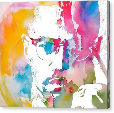 Power Canvas Print - Malcolm X Watercolor by Dan Sproul
