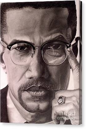 Canvas Print featuring the drawing Malcolm X by Wil Golden