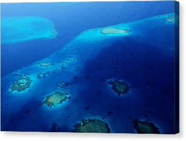 Maldivian Reefs. Aerial Journey Over Maldivian Archipelago Canvas Print by Jenny Rainbow