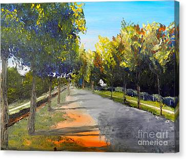 Canvas Print featuring the painting Maldon Victoria Australia by Pamela  Meredith