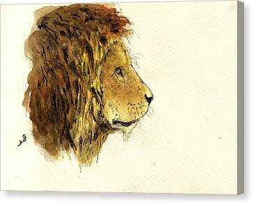 Male Lion Head Canvas Print by Juan  Bosco