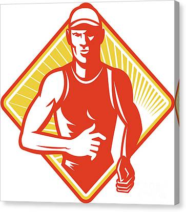 Male Marathon Runner Running Retro Woodcut Canvas Print by Aloysius Patrimonio