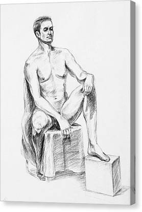 Male Model Seated Charcoal Study Canvas Print by Irina Sztukowski