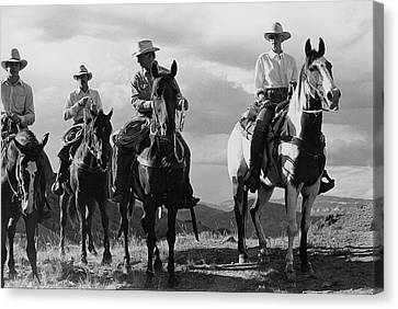 Male Models For The Gap Riding Horses Canvas Print