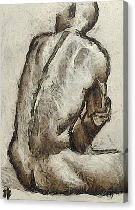 Nude Canvas Print - Male Torzo by Dragica  Micki Fortuna