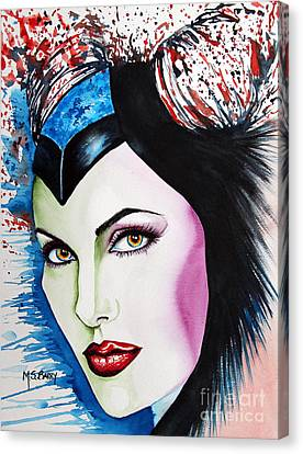 Canvas Print featuring the painting Maleficent by Maria Barry