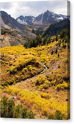 Malemute Peak In Autumn Canvas Print by Adam Pender