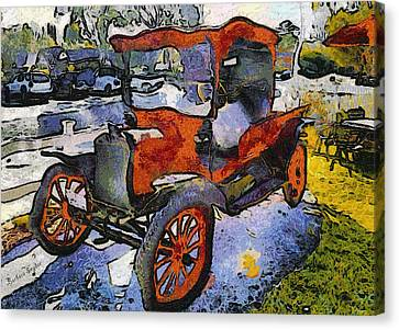 Tasting Canvas Print - Malibu Family Wine Antique Red Truck by Barbara Snyder