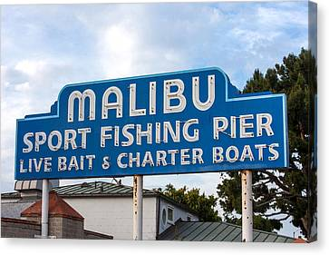 Pch Canvas Print - Malibu Pier Sign by Art Block Collections