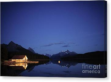 Maligne Lake Boathouse At Night Canvas Print by Dan Jurak