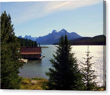 Row Boat Canvas Print - Maligne Lake Boathouse by Karen Wiles