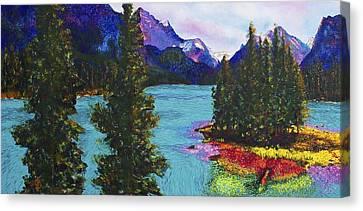 Maligne Lake Jasper Alberta Mountain Canvas Print