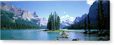 Maligne Lake Near Jasper, Alberta Canvas Print by Panoramic Images
