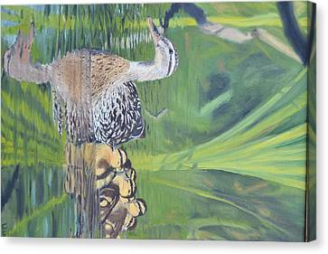 Mallard Hen And Young Canvas Print by Michael Wawrzyniec