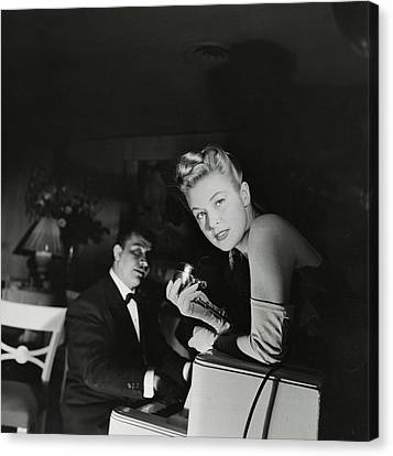 Malu Gatica With A Microphone Canvas Print by Horst P. Horst
