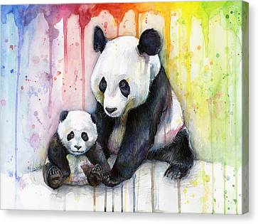 Panda Watercolor Mom And Baby Canvas Print by Olga Shvartsur