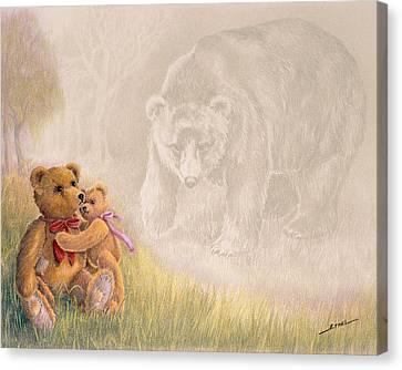 Canvas Print featuring the drawing Mama I Saw A Big Bear by Ethel Quelland