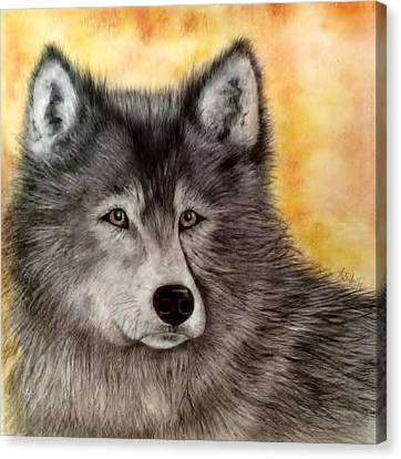 Mama Wolf Canvas Print by Annamarie Sidella-Felts