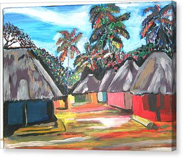 Canvas Print featuring the painting Mamboima The Tamarinds Village by Mudiama Kammoh