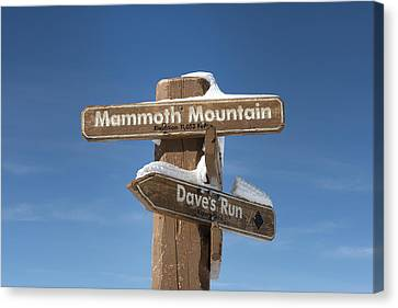 Mammoth Mountain Sign In Mono County Canvas Print