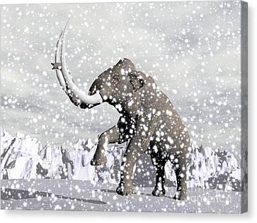 Winter Storm Canvas Print - Mammoth Walking Through A Blizzard by Elena Duvernay