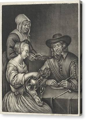 Man And A Woman At The Table, Anonymous, Jan Van Somer Canvas Print by Anonymous And Jan Van Somer