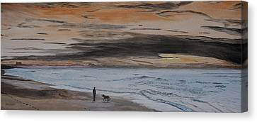 Canvas Print featuring the painting Man And Dog On The Beach by Ian Donley