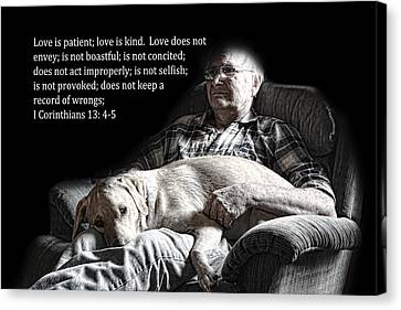Man And His Dog At Rest 1cor.13v4-5 Canvas Print