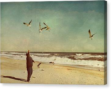 Man And Nature Canvas Print by Kathy Jennings