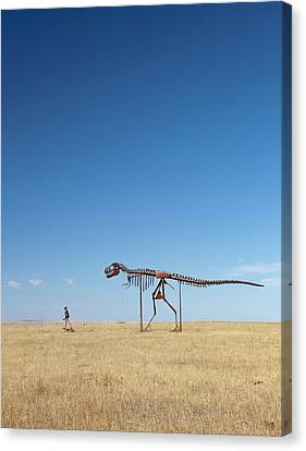 Man And T. Rex Skeletons Canvas Print