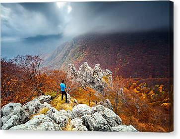 Man And The Mountain Canvas Print
