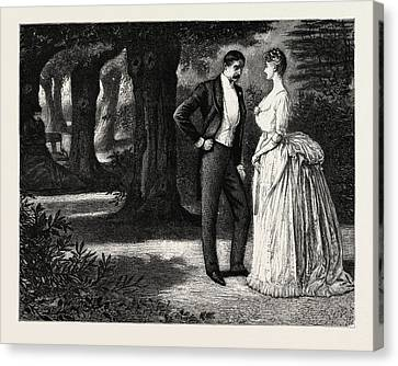 Man And Woman, 1888 Engraving Canvas Print