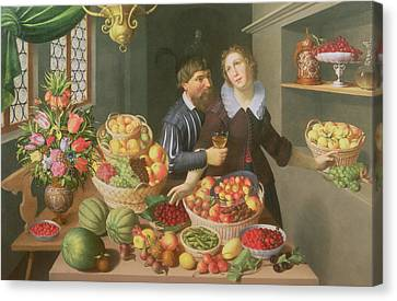 Man And Woman Before A Table Laid With Fruits And Vegetables Canvas Print by Georg Flegel