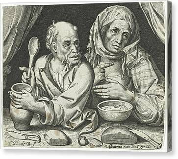 Man And Woman Eating Porridge, Nicolaes De Bruyn Canvas Print