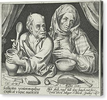 Porridge Canvas Print - Man And Woman Eating Porridge, Nicolaes De Bruyn by Nicolaes De Bruyn And Claes Jansz. Visscher (ii)