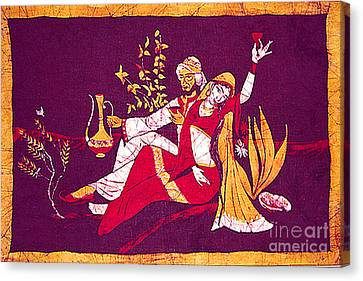Not Made With Hands Canvas Print - Man And Woman India Batik by Merton Allen