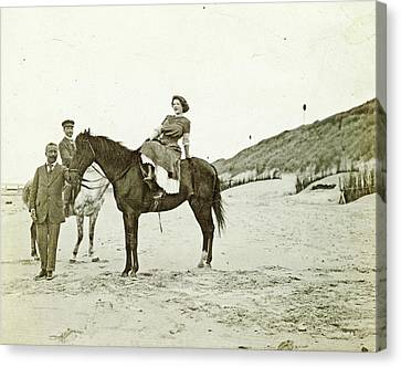 Man And Woman On Horseback On The Beach, North Sea Canvas Print