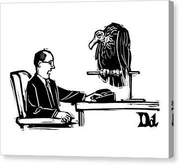 Man At Desk Speaks Into Intercom.  A Vulture Sits Canvas Print