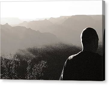 Man At Grand Canyon Canvas Print by Arkady Kunysz