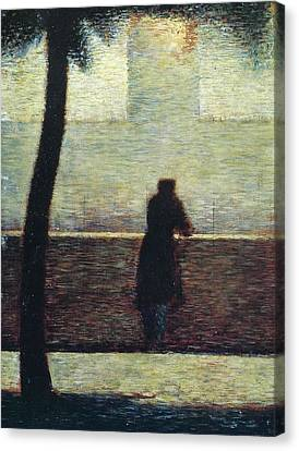 Man At The Rail Canvas Print by Georges Seurat