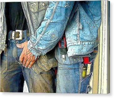 Man At Work Canvas Print by Bob Bienpensant