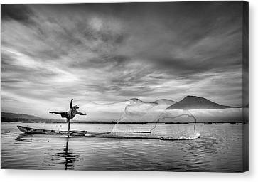 Net Canvas Print - Man Behind The Nets by Arief Siswandhono