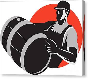 Man Carrying Wine Barrel Cask Keg Retro Canvas Print by Aloysius Patrimonio