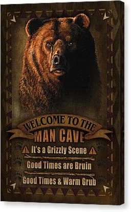 Man Cave Grizzly Canvas Print
