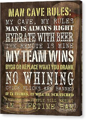 Man Cave Rules 2 Canvas Print