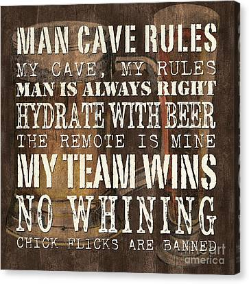 Man Cave Rules Square Canvas Print by Debbie DeWitt