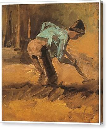 Man Digging Canvas Print by Vincent van Gogh