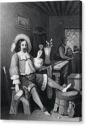 Man Drinking Wine, Wine Glass, Jug, Hat, Walking Stick Canvas Print by English School
